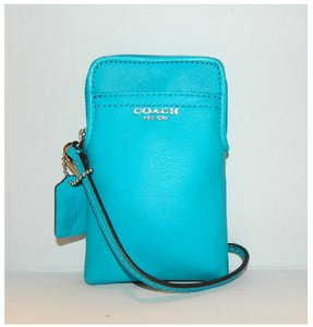 Coach New Wallet Cell Phone Case Clutch Genuine Leather Wristlet in Robin Egg Blue-SV