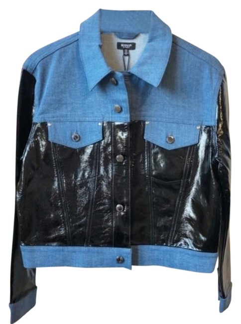 Item - Blue Black Los Angeles and Leather Colorblock Jacket Size 8 (M)