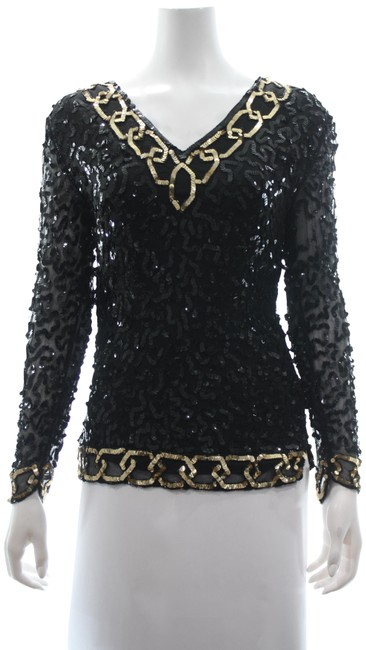 SWEE LO Sequin Long Sleeve Size Petite Black Top SWEE LO Sequin Long Sleeve Size Petite Black Top Image 1