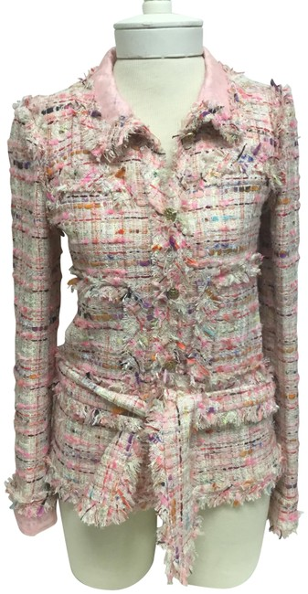 Item - Pink Tweed Belted with Gold Logo Buttons Jacket Size 4 (S)