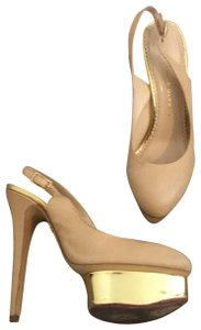Charlotte Olympia Nude and Gold Platforms