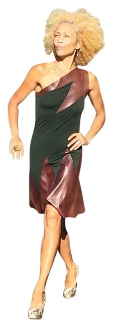 Item - Black Maroon Leather Short Casual Dress Size 4 (S)