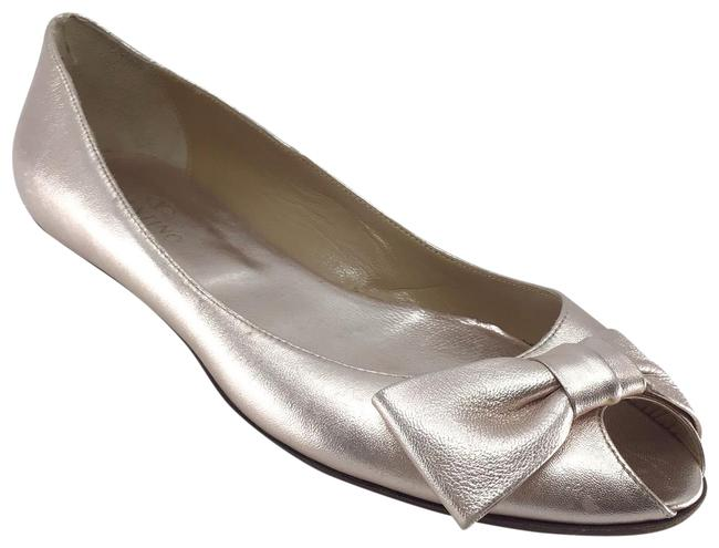 Item - Rose Gold Metallic Peep Toe Bow Flats Size US 9.5 Regular (M, B)