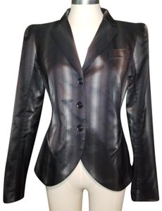 Lida Baday Iridescent Lustrous Strong Shoulder Date Night Black Blazer