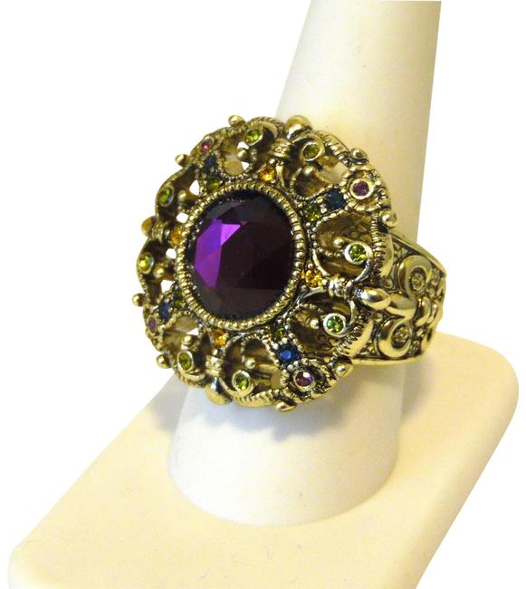 """Item - Bronzetone Amethyst-color """"How Suite It Is"""" Crystal Size 9 Ring"""