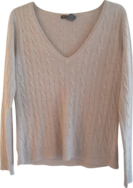 Item - V-neck Cable Large Oatmeal Beige Sweater