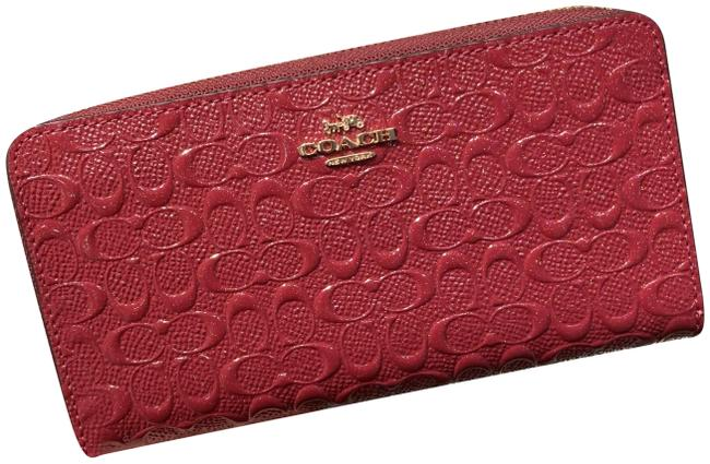 Item - Cherry /Light Gold F54805 Accordion Zip In Signature Leather Wallet