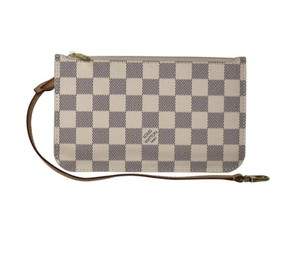 Louis Vuitton Damier Azur Pouch Neverfull Pm Neverfull Wristlet in White