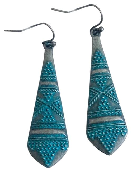 Item - Turquoise Patina Antique Silver Drop Earrings