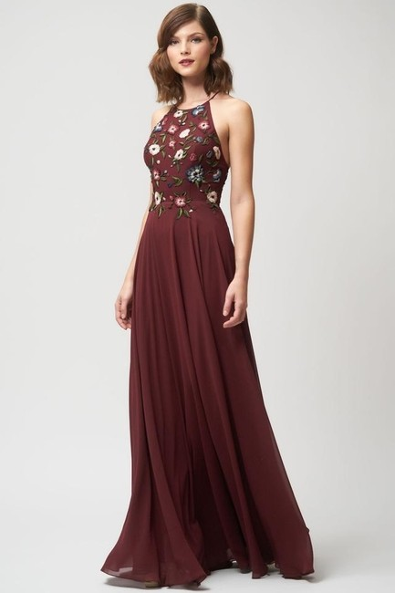 Jenny Yoo Hibiscus Multi Sophie Embroidered Chiffon Gown Long Formal Dress Size 10 (M) Jenny Yoo Hibiscus Multi Sophie Embroidered Chiffon Gown Long Formal Dress Size 10 (M) Image 3