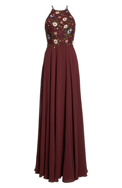 Jenny Yoo Hibiscus Multi Sophie Embroidered Chiffon Gown Long Formal Dress Size 10 (M) Jenny Yoo Hibiscus Multi Sophie Embroidered Chiffon Gown Long Formal Dress Size 10 (M) Image 4