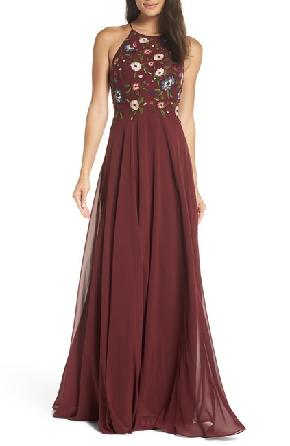 Item - Hibiscus Multi Sophie Embroidered Chiffon Gown Long Formal Dress Size 10 (M)
