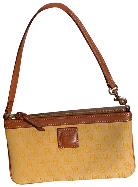 Item - Signature Yellow Jacquard Fabric with Leather Strap Trim Wristlet