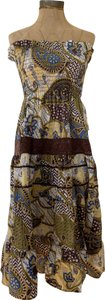 Brown Combo Maxi Dress by She's Cool Sexy Strapless Tube Top Peasant Boho