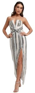 Lulu*s Striped Sequin Maxi Gown Strapless Dress