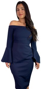 Missguided Bardot Off The Shoulder Stretchy Bell Sleeve Navy Dress