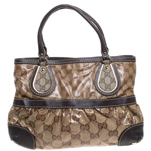 Gucci Canvas Leather Tote in Brown