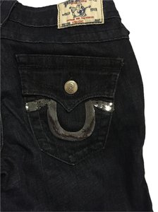 True Religion Embellished Straight Leg Jeans-Dark Rinse