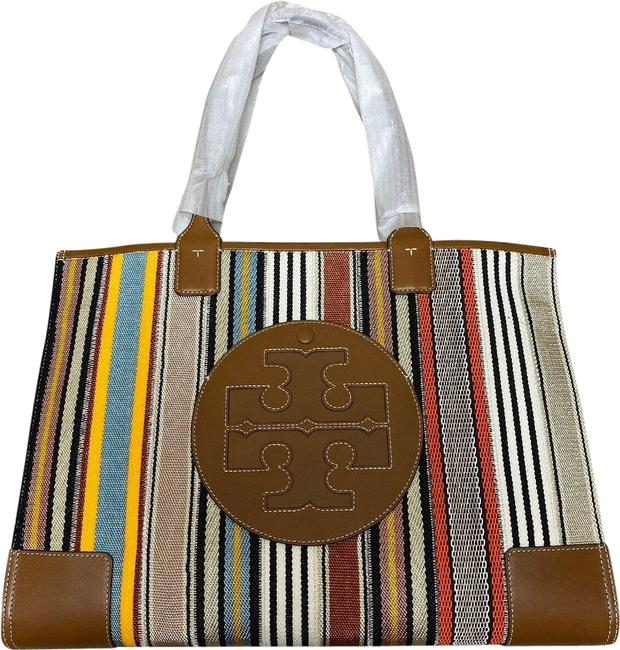 Item - Ella Patchwork 71609 Multi Webbing Stripe Fabric Leather Trim Tote