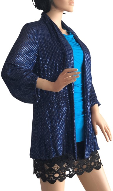 Item - Blue Sequin Jacket Size 4 (S)