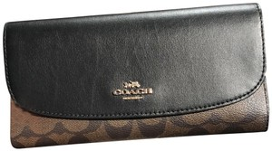 Coach F57319 Checkbook Wallet in Signature Brown