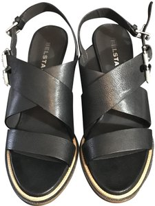 Belstaff New Comes With Box. Leather Comfortable High Heels Silver Hardware Black Sandals