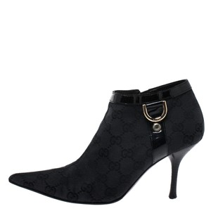 Gucci Canvas Pointed Toe Black Boots