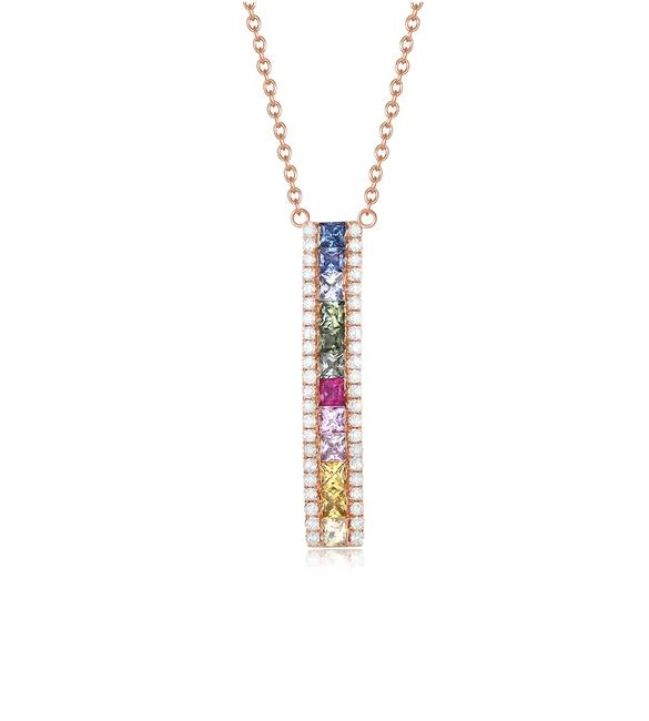 Unbranded Rose 14k Gold Rainbow Sapphire Bar Necklace Unbranded Rose 14k Gold Rainbow Sapphire Bar Necklace Image 1