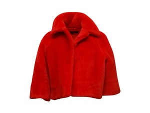 MARTIN GRANT 500-1000 Cropped Cropped Shearling Red Jacket