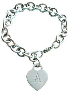 Tiffany & Co. Letter A heart tag link bracelet