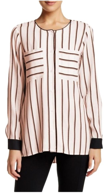 Item - Pale Pink Women's Long Cuffed Sleeve Striped Blouse Size 10 (M)