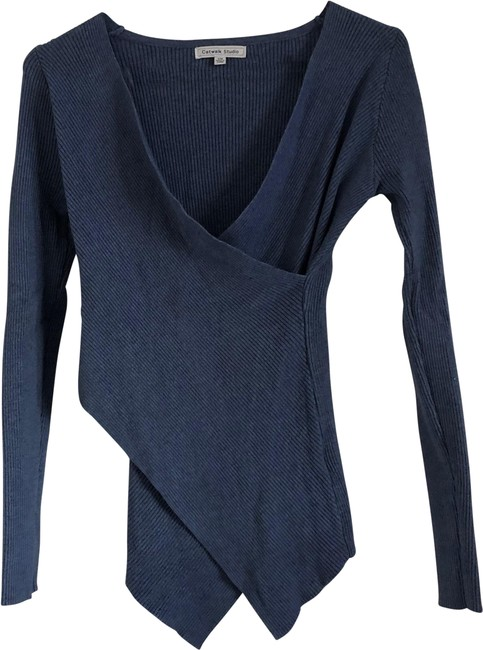 Item - Blue Wrap Sweater Blouse Size 4 (S)