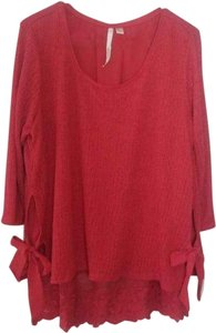 LC Lauren Conrad Lace Tunic Knit Tie Top Red