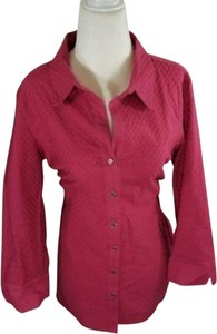 Anne Klein Textured Button Front Career Office Top Pink