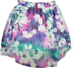 Maurices High-low Hi-lo Floral Watercolor Mini Skirt Purple Green