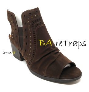 Bare Traps Chunky Laser Cut Zippered Brown Boots