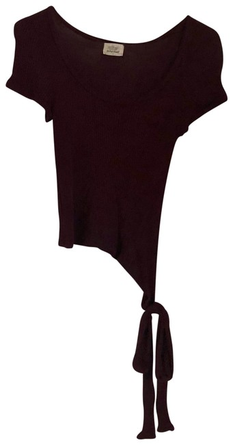 Item - Burgundy Crop with Tie On The Tee Shirt Size 4 (S)
