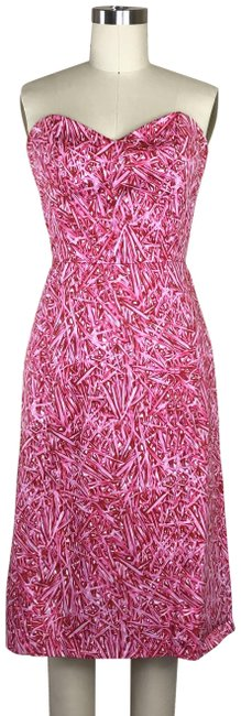 Item - Pink Sweetheart Neckline Pencil Strapless Mid-length Night Out Dress Size 4 (S)
