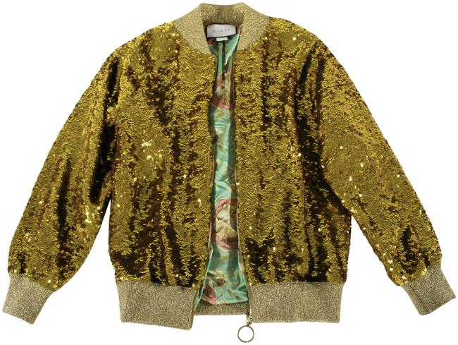 """Item - Gold S/S2017 Collectible Metallic Sequin """"Bomber"""" Track Jacket Size 8 (M)"""