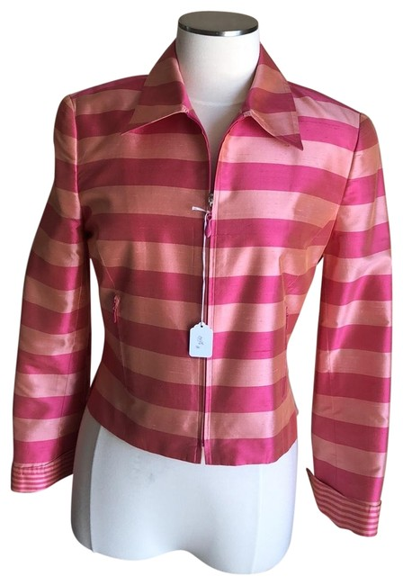 Item - Peach/Pink 100%silk - Acetate Lined - Long Sleeve Jacket Size 4 (S)