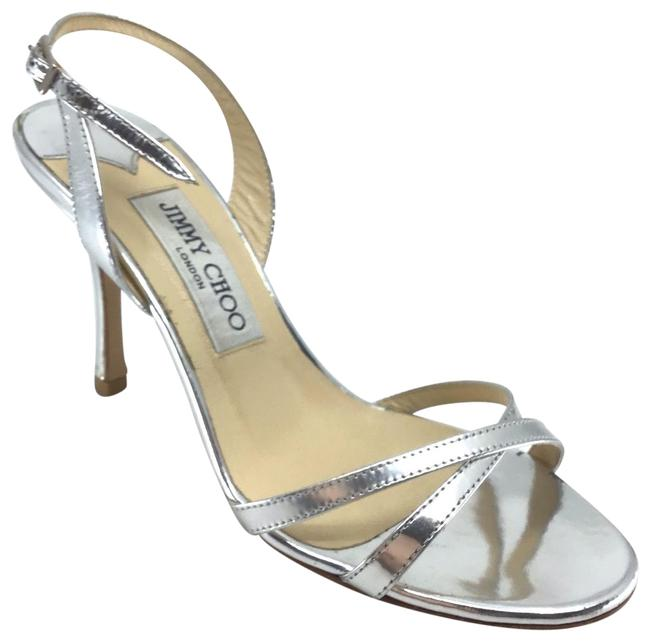 Item - Silver Metallic Leather India Strappy Slingback Pumps Sandals Size US 6.5 Regular (M, B)
