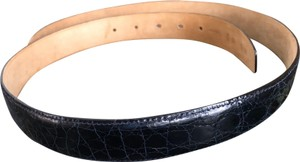 Bally Bally Crocodile Embossed Navy Blue Leather Mens Belt, No Buckle