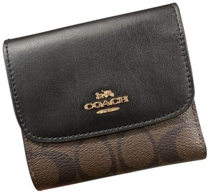 Coach Small Wallet in Signature Canvas Brown/Black