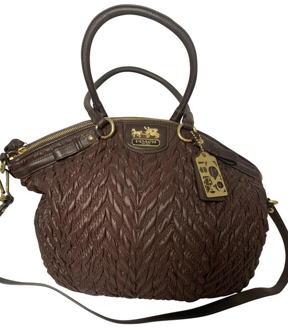 Item - 70th Anniversary Madison Quilted 18634 Lindsey Ship Chocolate Brown Nylon Satchel