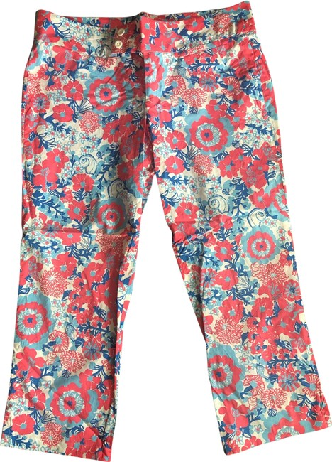 Item - Multi. Pink Coral Blue Turquoise Palm Beach Fit Capris Size 12 (L, 32, 33)