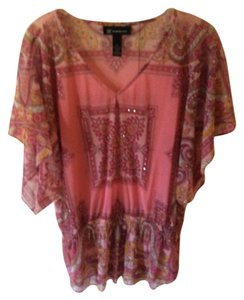 INC International Concepts Paisley Tunic Pattern Top Pink