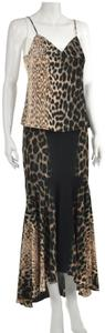 Roberto Cavalli Animal Print Leopard Silk Camisole Midi Dress