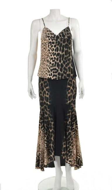 Item - Black & Brown Silk Two Piece Mid-length Night Out Dress Size 8 (M)