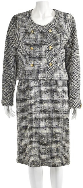 Item - Navy & Ivory Boucle Wool Skirt Suit Size 10 (M)