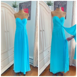 Faviana Blue Strapless Sweetheart Evening Slit Modern Bridesmaid/Mob Dress Size 2 (XS)